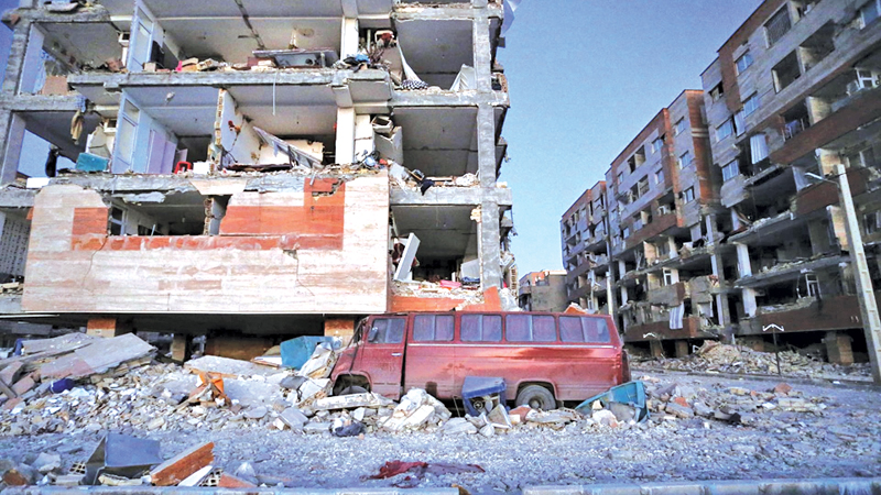 Destroyed buildings in Sarpol-e-Zahab in western Iran.