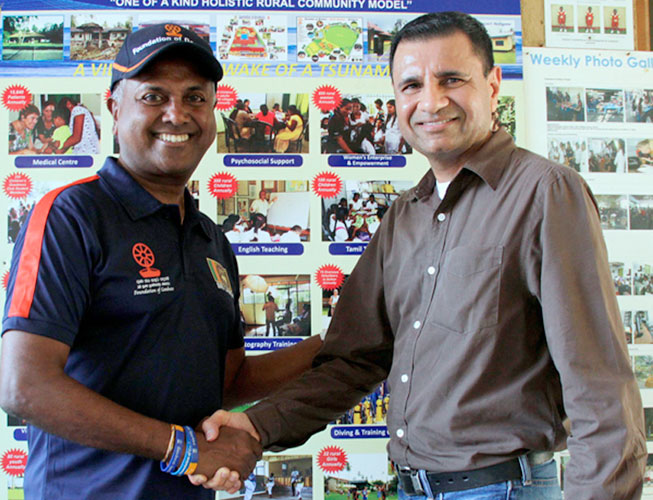 President and CEO, Rimas Foundation, Khawar Ali Khan with Chairman, Foundation of Goodness in Seenigama, Kushil Gunasekera. Picture by Saliya Rupasinghe