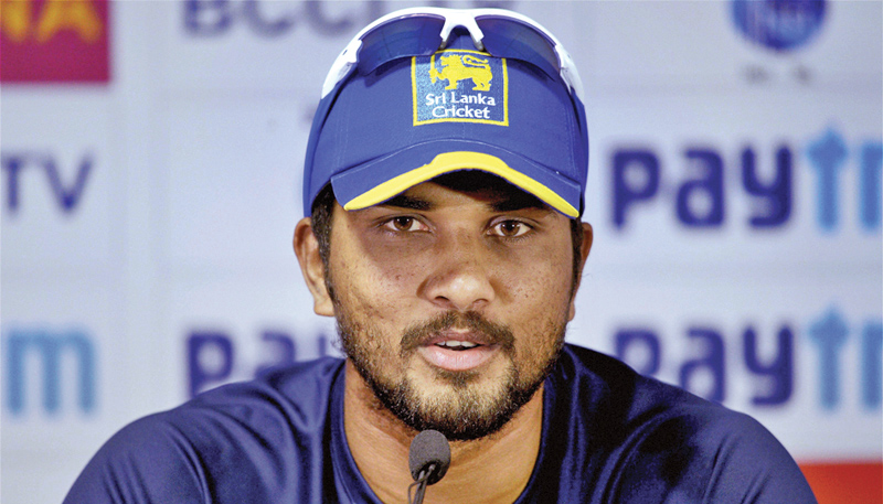 Dinesh Chandimal addressing the press conference ahead of today's third Test against India.