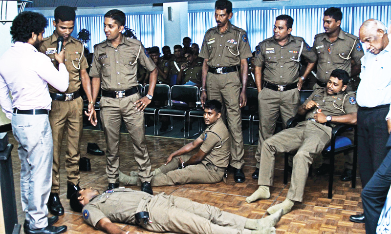 Traffic Police undergoing first aid training.