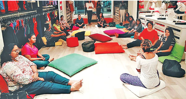 A facial yoga session at the amanté flagship Racecourse boutique  by Om Space, Founder, Serena Burgess