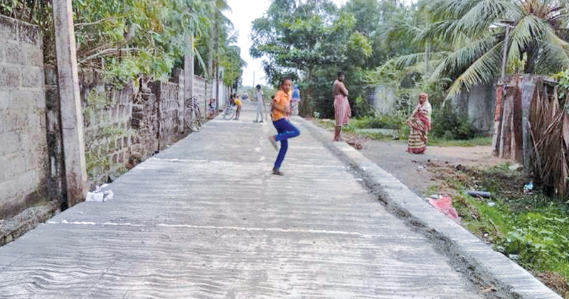The Addalaichenai Fathima Islamic College concrete road. Picture by I. L. M. RIZAN, Addalaichenai Central Corr.