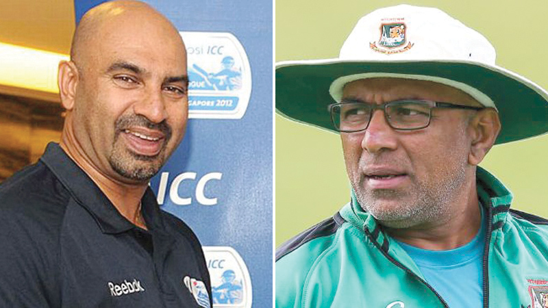 Chief cricket selector Graeme Labrooy and Chandika Hathurusingha