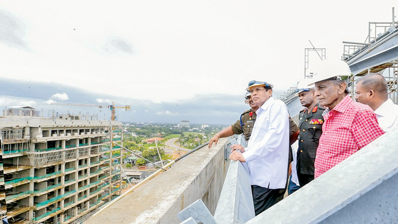 President Maithripala Sirisena on an inspection tour at the Defence headquarters in Akuregoda earlier this year. (Picture courtesy President's Media Division.)