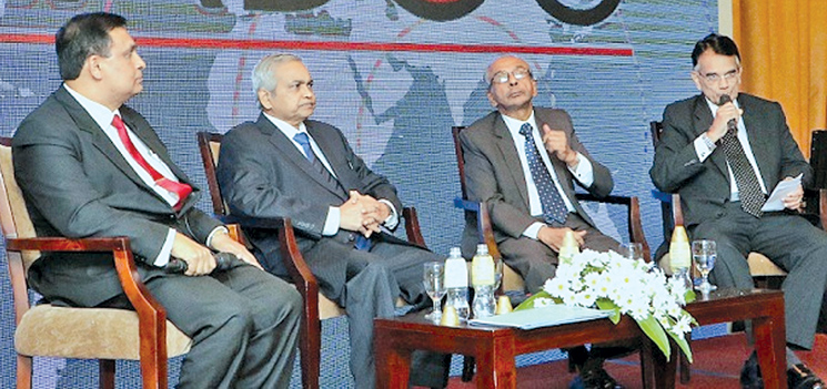 CIABOC Director General Sarath Jayamanna PC and Commissioners at the website launch and forum. Picture by Saman Sri Wedage