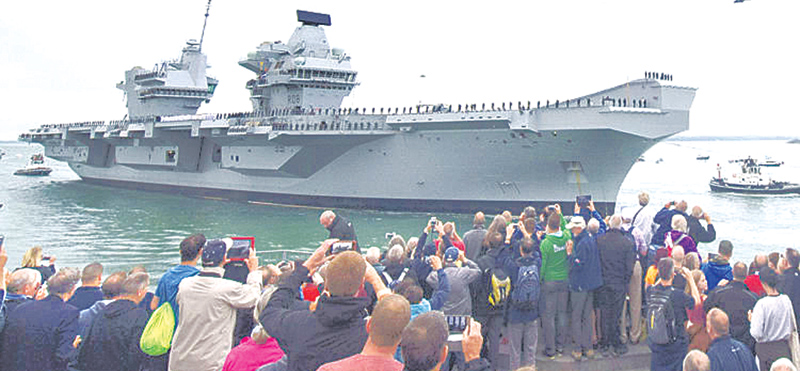 The Royal Navy's new aircraft carrier HMS Queen Elizabeth.