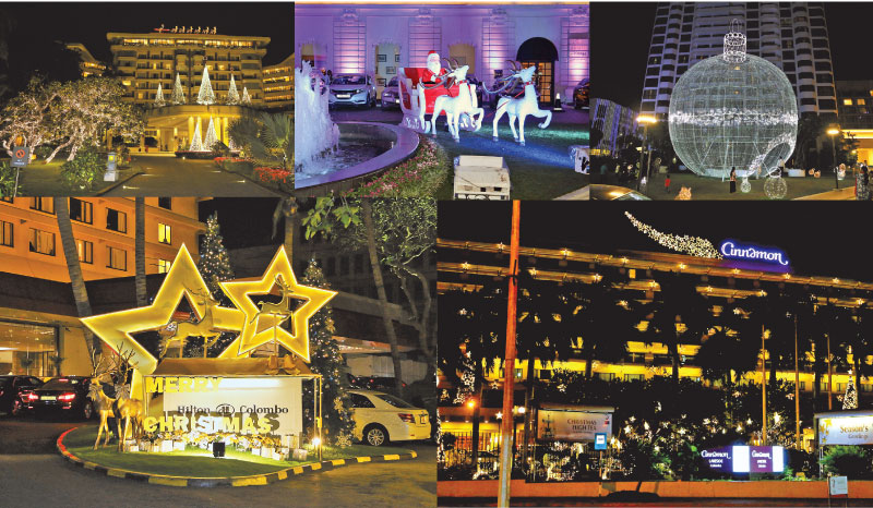 Five star hotels light up for Christmas: Taj Samudra; The Kingsbury; Hilton Colombo, Cinnamon Grand and Cinnamon Lakeside. Daily News Business will also take a break for Christmas and we will be back on December 28. Pictures by Shan Rambukwella