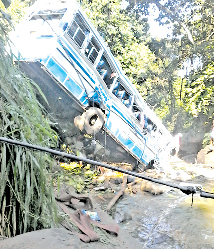 The bus that veered off the road and went down the precipice at Pathulpaana