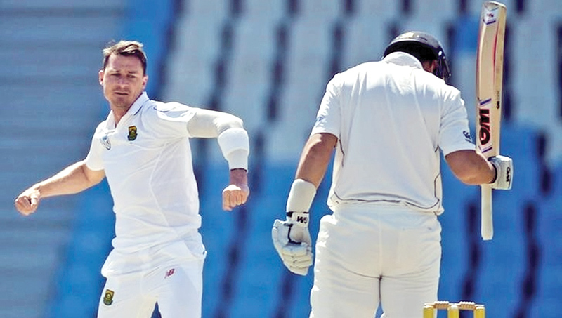 South Africa's Dale Steyn celebrates the dismissal of New Zealand's Ross Taylor.