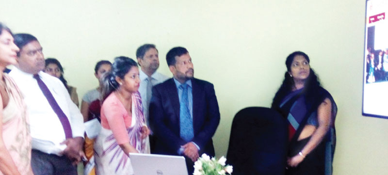 Minister Rishad Bathiudeen unveiling the new Sri Lanka Department of Commerce website yesterday