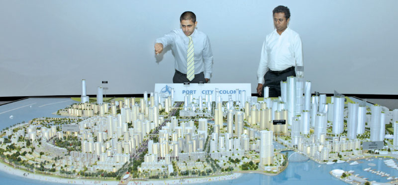 Thulci Aluwihare, Head of Strategy and Business Development with the Port City model. Picture by Saliya Rupasinghe