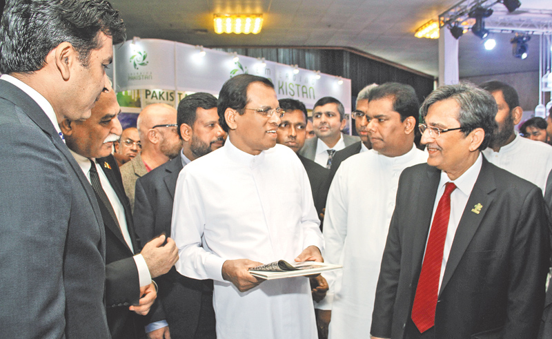 The third Edition of the Pakistan Single Country Exhibition was inaugurated by President Maithripala Sirisena at the BMICH yesterday. Pakistani Minister for Commerce Mohammad Pervaiz Malik, Industry and Commerce Minister Rishard Bathiudeen and Pakistan High Commissioner in Sri Lanka Dr.Shahid Ahmad Hashmat were present. Picture by Sulochana Gamage