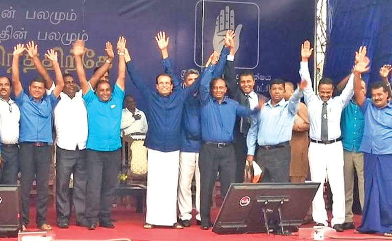 President Maithripala Sirisena addressed a large gathering at a meeting held to promote candidates contesting the local government polls in Sammanthurai, yesterday. Picture by A. B. Abdul Gafoor, Ampara District Group Corr.