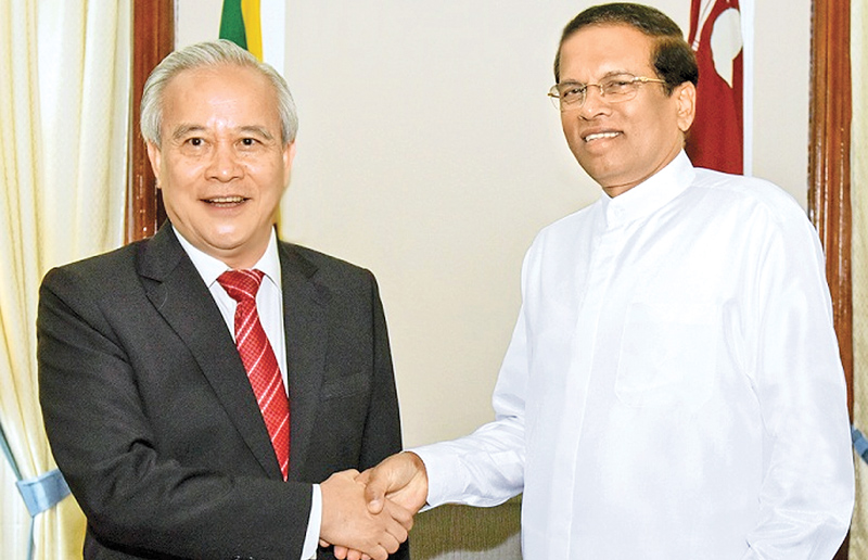 President Maithripala Sirisena met Wang Qinmin, the special invitee from China for the 70th Independence Day celebrations, at the Presidential Secretariat in Colombo Fort yesterday. (Picture by President's Media Division)