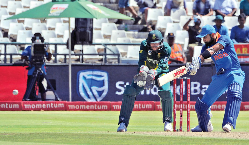 Indian captain Virat Kohli plays a shot during his innings of 160 not out in the third ODI played at Newlands on Tuesday. AFP