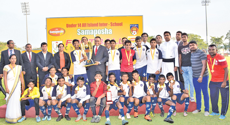 Boys' champion - St, Joseph Collage, Colombo 10 team with their awards