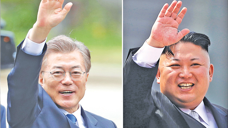 South's President Moon Jae-in and North Korean leader Kim Jong Un.