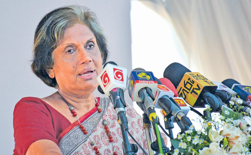 Former President Chandrika Bandaranaike Kumaratunga speaking as Chief Guest at the 2018 International Mother Language Day celebrations at the Viharamahadevi Park, Colombo yesterday. Picture by Sarath Peiris