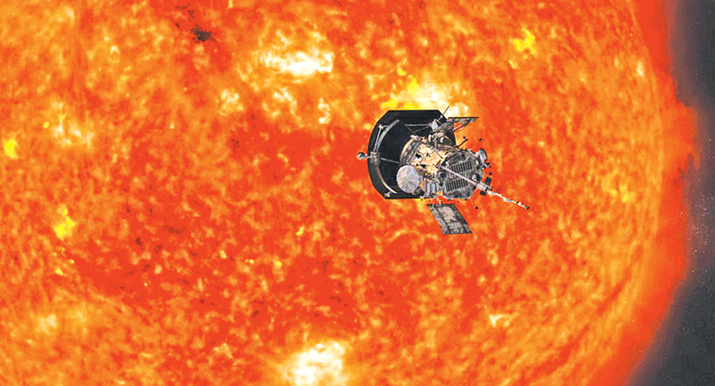 Artist's illustration of NASA's Parker Solar Probe spacecraft approaching the sun.