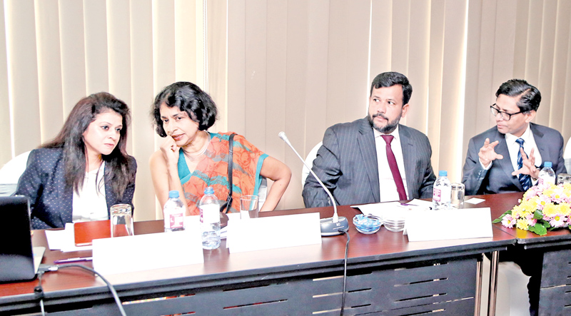 UNCTAD Senior Researcher, Dr. Rashmi Banga, Sri Lanka DG Commerce, Sonali Wijeratne, Minister of Industry and Commerce, Rishad Bathiudeen  and Centre for WTO Studies', Dr Abhijit Das at UNCTAD backed first Senior Policymakers Session on  Digital Trade and Industrialisation at the event.