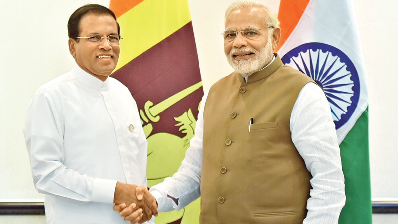 President Maithripala Sirisena, after attending the Founding Conference of the International Solar Alliance (ISA) in New Delhi, India on Sunday, met with Indian Prime Minister Narendra Modi at the Rashtrapati Bhavan for bilateral talks.  Picture by Sudath Silva.