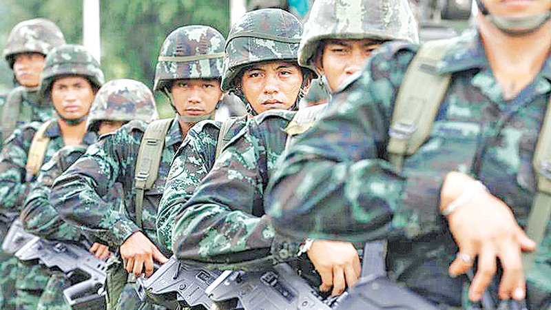 Thai soldiers attend training at military barracks in Prachinburi Province, near Bangkok.