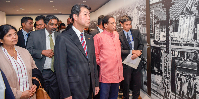 President Maithripala Sirisena viewing the exhibits at the Hiroshima Peace Memorial Museum. Picture by Sudath Silva.