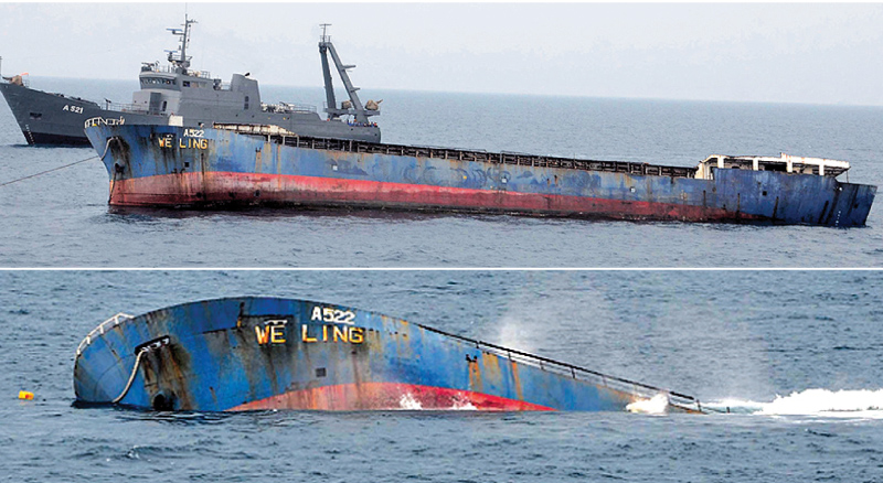 The A522 vessel being sunk in the deep sea area off the western coast of Sri Lanka by Naval personnel. According to unconfirmed reports the bulletproof vehicles were on board the vessel that was sunk. Pictures courtesy Sri Lanka Navy Media Unit