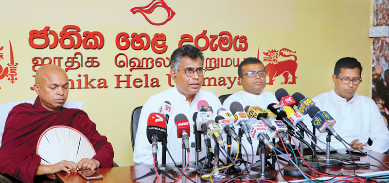 Minister Patali Champika Ranawaka addressing the press conference. Pictures by Saman Sri Wedage