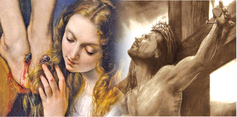 Mary Magdalene weeps at his feet.-Jesus breathes his last.