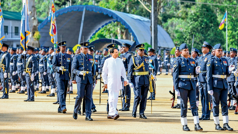President Maithripala Sirisena who attended the Presidential Colours Awards Ceremony held at the Diyatalawa Sri Lanka Air Force Combat Training School as the Chief Guest on April 2 inspecting a Guard of Honour presented by Air Force Personnel. Air Force Commander Air Marshal Kapila Jayampathy and Commander of the Combat Training School Air Commodore W. E. P. D. Fernando were also present. Picture by Sudath Silva