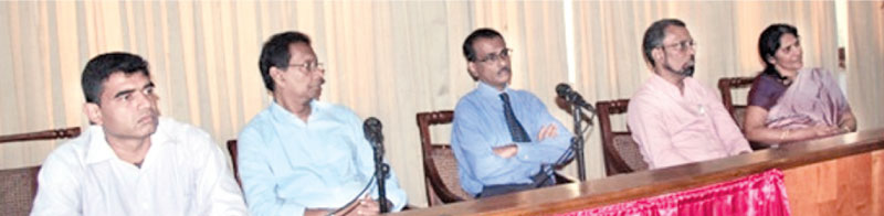 Professor in Applied Statistics, Prof. T S G Peiris, Deputy Director General, Gamini Weerasinghe other officials at the event.