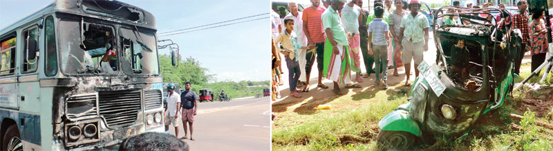 The vehicles involved in the accident. Picture by Rahula Samatha Hettiarachi, Ambalangoda Group Corr.