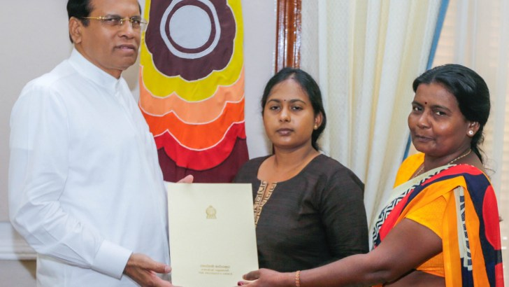 President Sirisena provide employment to Vidya's sister