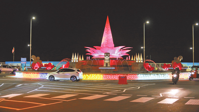The decorated roundabout near the Presidential Secretariat.