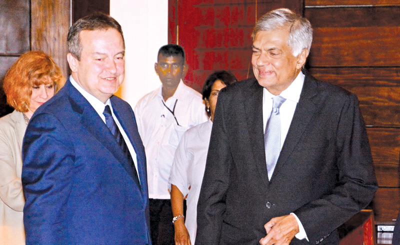 Serbian Foreign Minister Ivica Dacic called on Prime Minister Ranil Wickremesinghe at Temple Trees yesterday. Picture courtesy Prime Minister's Media Division