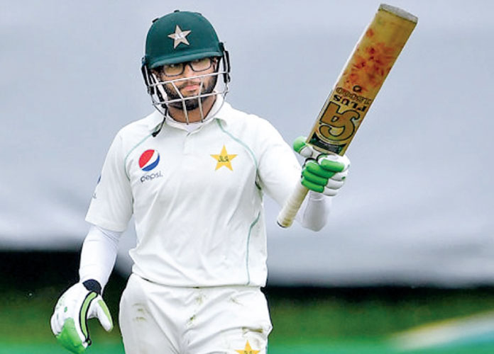 Opener Imam-ul-Haq celebrates his half-century as Pakistan completed a five-wicket win over Ireland in the inaugural Test match played at Malahide, Dublin on Tuesday.