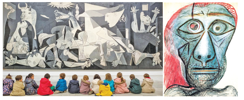 At Reina Sofía museum in Madrid, schoolchildren visit Picasso's iconic painting Guernica.