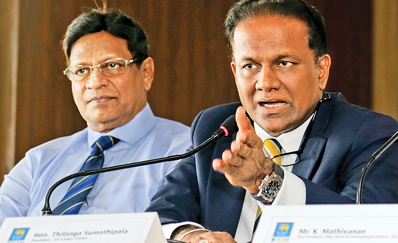 Thilanga Sumathipala whose term as SLC president ended yesterday addresses a media conference at SLC headquarters. Mohan de Silva is also present. Picture by Rukmal Gamage