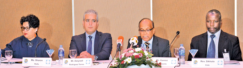 Regional Centre for Strategic Studies (RCSS) Executive Director Prof. Gamini Keerawella speaks at the media conference held in Colombo, last week. Also present are delegates who attended GPPAC-RCSS Week 2018. Picture by Sarath Peiris