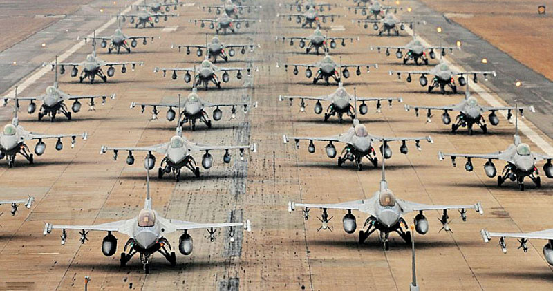 Hundreds of F-16 fighters at U.S. air force base in South Korea.