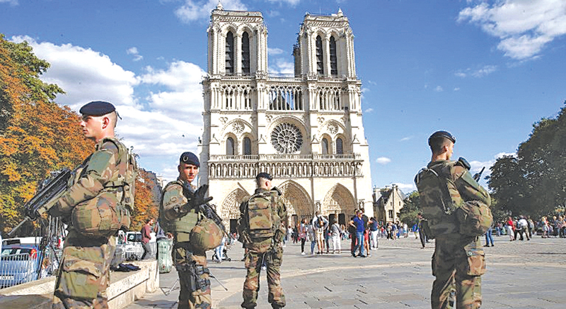 French Security Forces personnel on high alert.