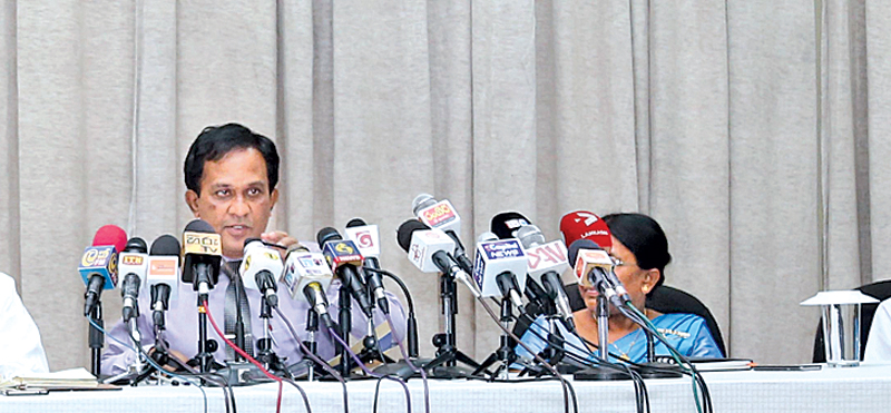 CEA Chairman Chandrarathne Pallegama speaks at the media briefing yesterday. Picture by Nirosh Batepola
