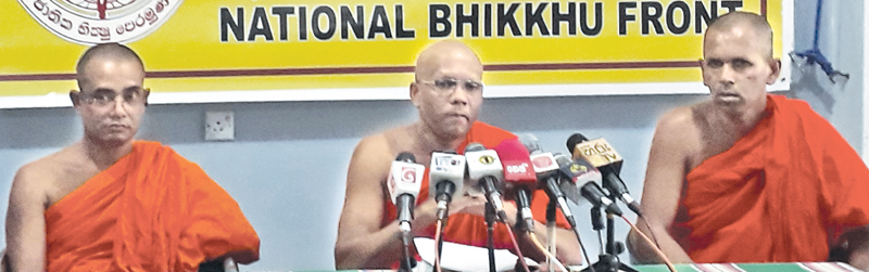 NBF Secretary Ven. Wakamulle Uditha Thera speaks at the media conference yesterday.