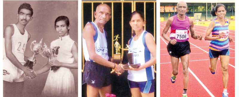 The wedding photo of the athletic couple R. M. Chandradasa and K.G.G. Menike taken in 1968-The Golden wedding anniversary photo taken in 2018-Chandradasa and Menike practicing at the Sugathadasa Stadium at a recent meet.
