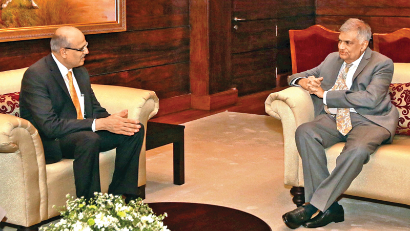 Indian Foreign Secretary Vijay Keshav Gokhale called on Prime Minister Ranil Wickremesinghe at Temple Trees yesterday.