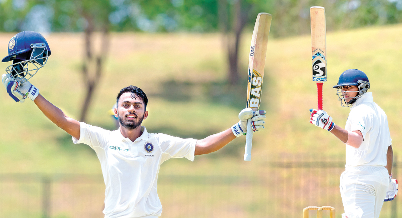 Atharwa Taide and Pawan Shah scored 177 apiece for India U19 on the first day of the second four-day test against Sri Lanka U19 at Hambantota yesterday.