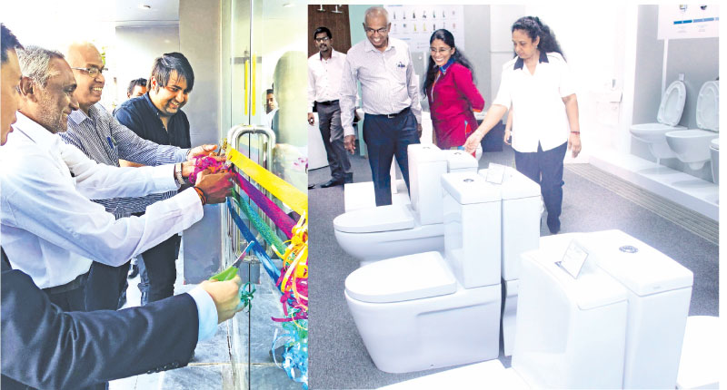 Officials opening the new showroom at Nawala. Pictures by Sarath Pieris.