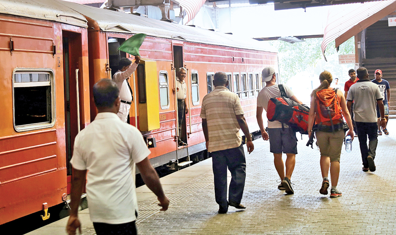 A scene at the Colombo Fort Railway Station last afternoon after the train strike was called off. Picture by Rukmal Gamage
