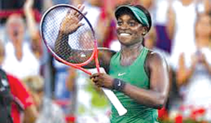Sloane Stephens celebrates her win over defending champion Elina Svitolina in the WTA Canada tournament in Montreal.
